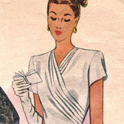 Detail of McCall 6621 1940s dinner dress pattern - woman reading her carnet de bal