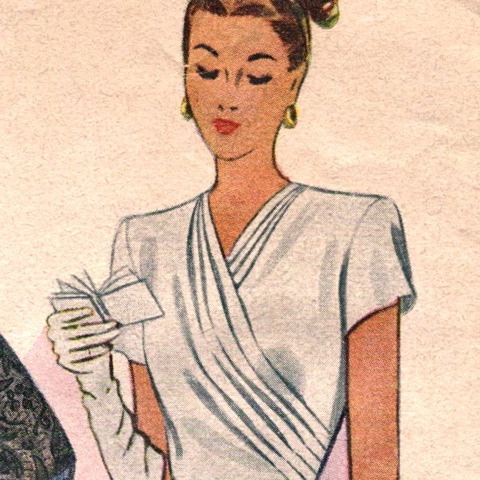 Detail of McCall 6621 1940s dinner dress pattern - woman reading her carnet de bal