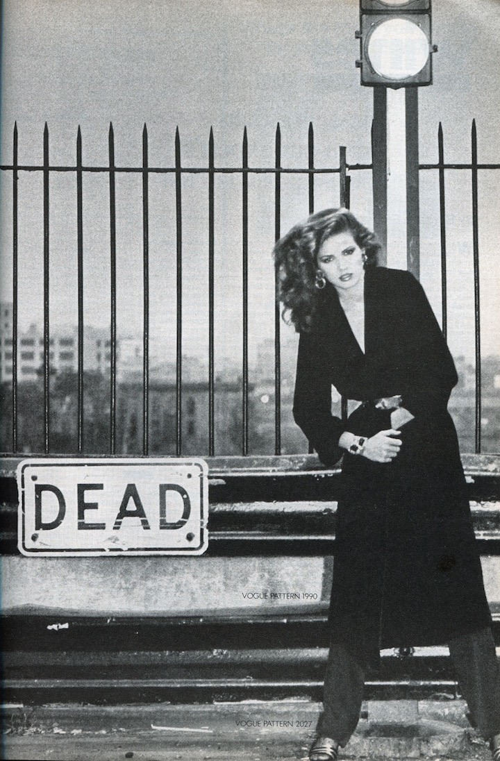 "Gia Carangi ""Dead"" photo 1970s Vogue Patterns, Vogue, November 1978. Photographed by Andrea Blanch"
