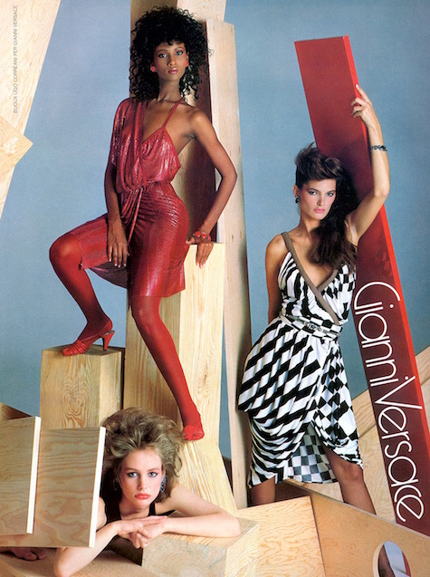 Versace advertising campaign for Spring 1983: Iman, Lynne Koester, and Lauren Helm photographed by Richard Avedon