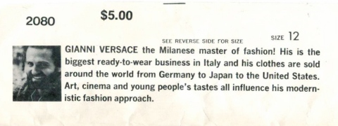 "photo and biography of Gianni Versace from pattern envelope flap: ""GIANNI VERSACE the Milanese master of fashion! His is the biggest ready-to-wear business in Italy and his clothes are sold around the world from Germany to Japan to the United States. Art, cinema and young people's tastes all influence his modernistic fashion approach."""