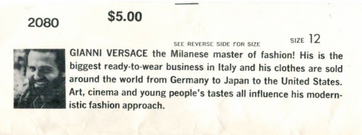 photo and biography of Gianni Versace from pattern envelope flap
