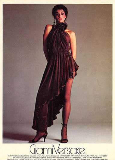 Versace campaig for Fall 1980: Janice Dickinson photographed by Richard Avedon.