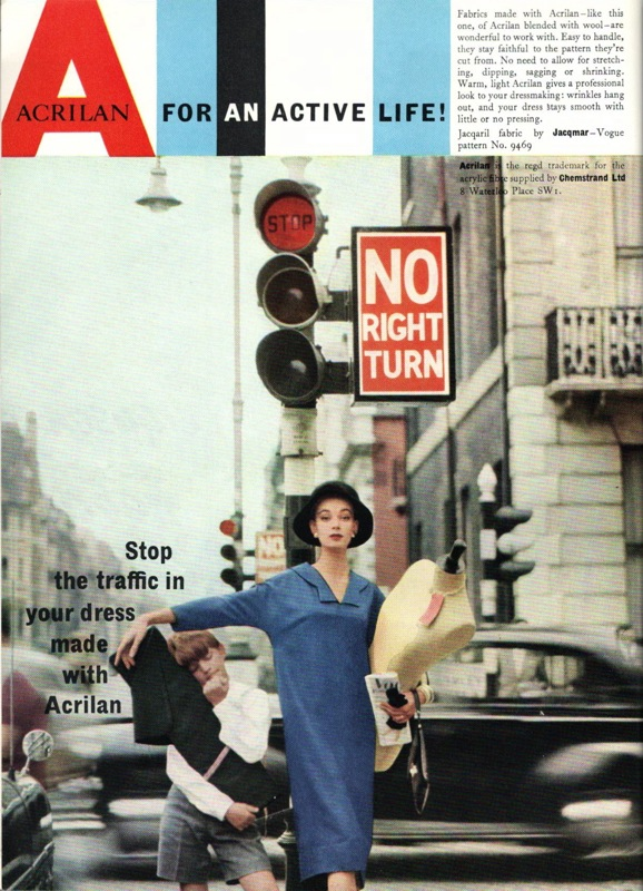 """Stop the traffic in your dress made with Acrilan"" 1950s Advertisement for Acrilan with the slogan ""Acrilan for an active life!"""