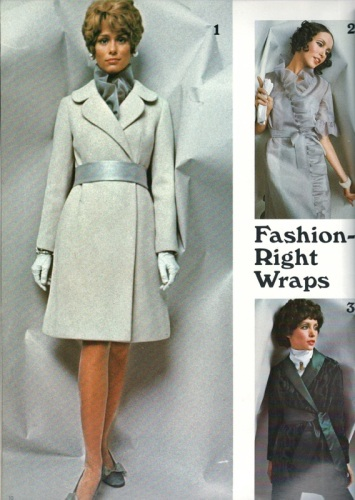 Lauren Hutton models a 1960s coat pattern, Vogue 7448, in Vogue Pattern Book, Winter 1968.