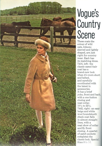 Lauren Hutton models a camel-hair coat in Vogue Pattern Book, Winter 1968