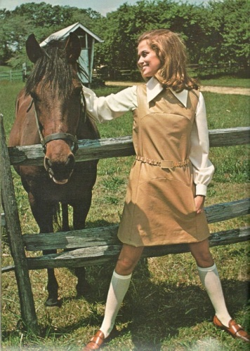 Lauren Hutton with horse, Vogue Pattern Book Winter 1968