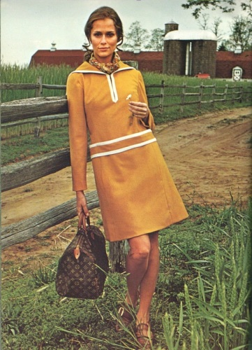 Lauren Hutton with Louis Vuitton bag, photographed by Ray Solowinski for Vogue Pattern Book Winter 1968