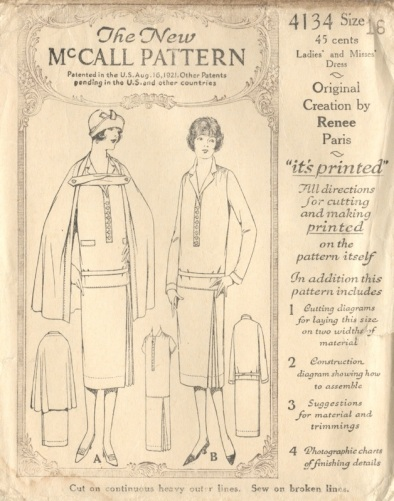 "1920s cape and dress pattern, McCall 4134, ""Original Creation by Renee Paris"""