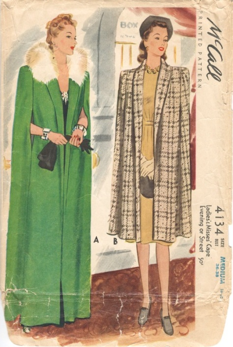 1940s cape pattern in evening or street length - McCall 4134