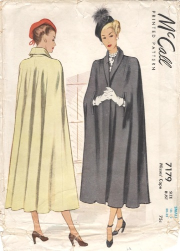 Late 1940s cape pattern, McCall 7179