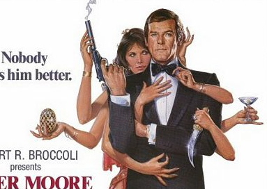 Maud Adams and Roger Moore - Octopussy poster detail