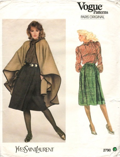 1980s cape pattern by Yves Saint Laurent, Vogue 2790