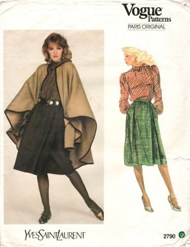 1980s cape pattern by Yves Saint Laurent, Vogue 2790