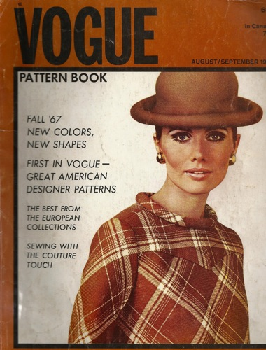 Maud Adams on the cover of Vogue Pattern Book, Aug/Sept 1967
