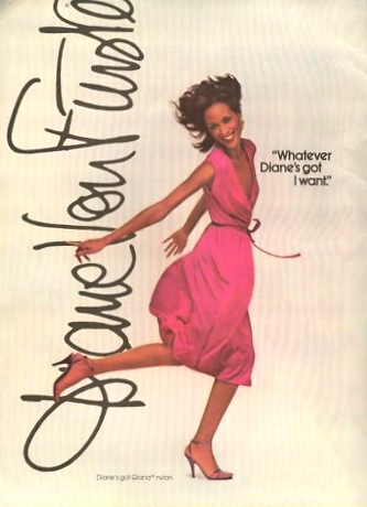 """Whatever Diane's got I want"" Diane von Furstenberg advertisement featuring Beverly Johnson wearing Qiana fabric Cosmo December 1979"