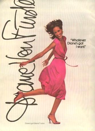 """Whatever Diane's got I want"" Diane von Furstenberg advertisement featuring Beverly Johnson wearing Qiana fabric Cosmo December 1979"