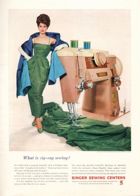 1960s Singer Sewing Centers ad showing a woman in evening wear leaning on a giant Singer Slant-O-Matic sewing machine