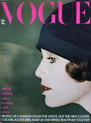 Angeleen on the cover of Vogue UK, February 1974