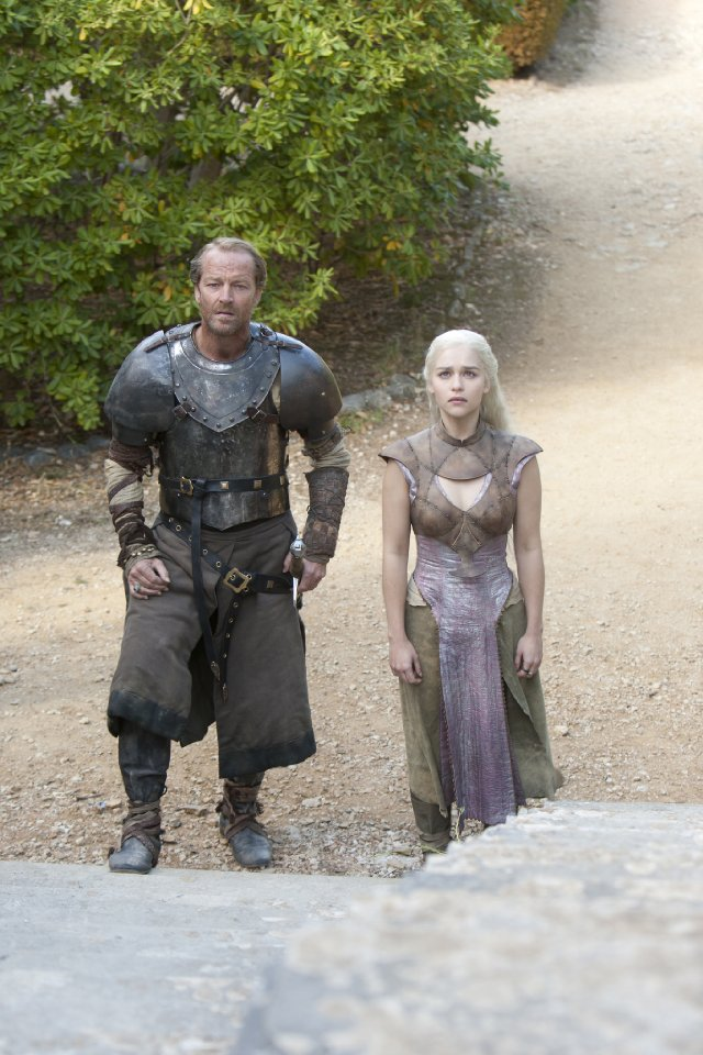 "Ser Jorah and Daenerys in ""Valar Morghulis,"" second season finale of HBO's Game of Thrones"
