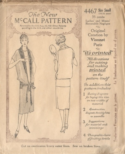 1920s Vionnet pattern for a reversible negligee, McCall 4467