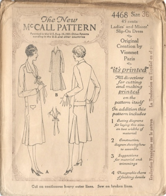 1920s Vionnet pattern for a long-sleeved day dress, McCall 4468