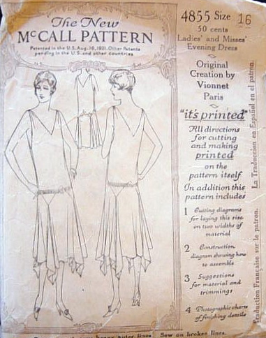 1920s Vionnet pattern for a handkerchief evening dress, McCall 4855