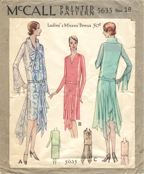 bc82557cbf5 1920s Vionnet pattern for a formal handkerchief dress