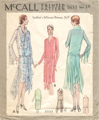 1920s Vionnet pattern for a formal handkerchief dress, McCall 5635