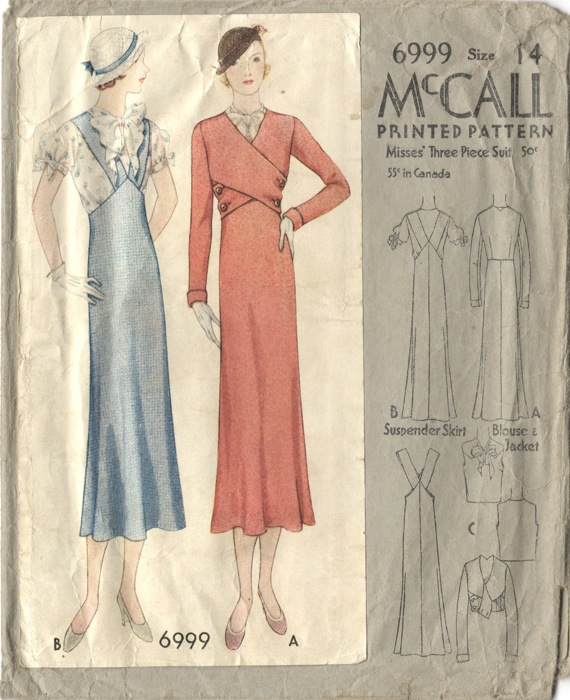 1930s Vionnet suit pattern, McCall 6999