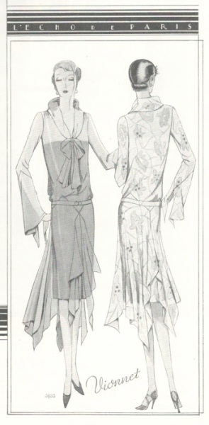 Vionnet pattern illustration in McCall's magazine, April 1929