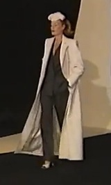 runway video still, Givenchy by John Galliano FW 1996 ready-to-wear jumpsuit and coat
