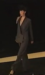 runway video still, Givenchy by John Galliano FW1996 ready-to-wear flannel jumpsuit