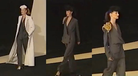 runway video still, Givenchy by John Galliano FW 1996 ready-to-wear flannel jumpsuits