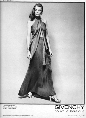 Givenchy advertising campaign image, Spring 1978, by photographer Michel Picard.