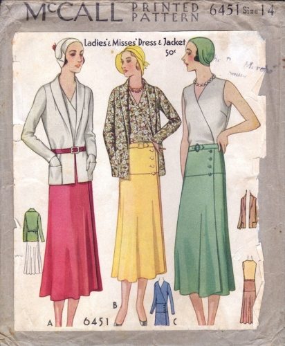 Early 1930s Vionnet dress pattern - McCall 6451