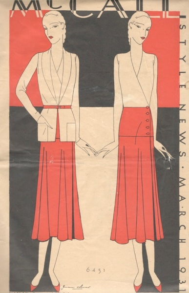 1930s McCall 6451 illustration on the cover of McCall Style News