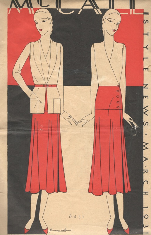 1930s Vionnet McCall 6451 illustration on the cover of McCall Style News