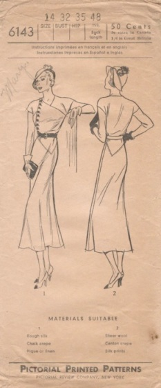 1930s Vionnet adaptation dress pattern, Pictorial 6143