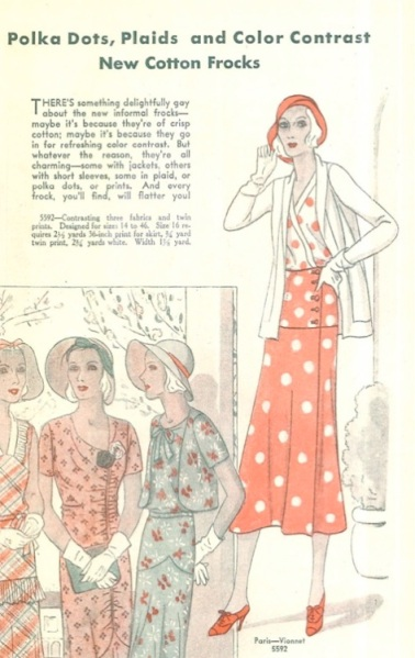 1930s Vionnet adaptation pattern for a dress and jacket, Pictorial 5592