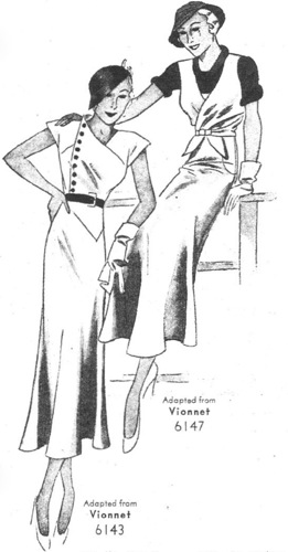 1930s Pictorial Review Vionnet illustration, Pictorial 6143 and 6147
