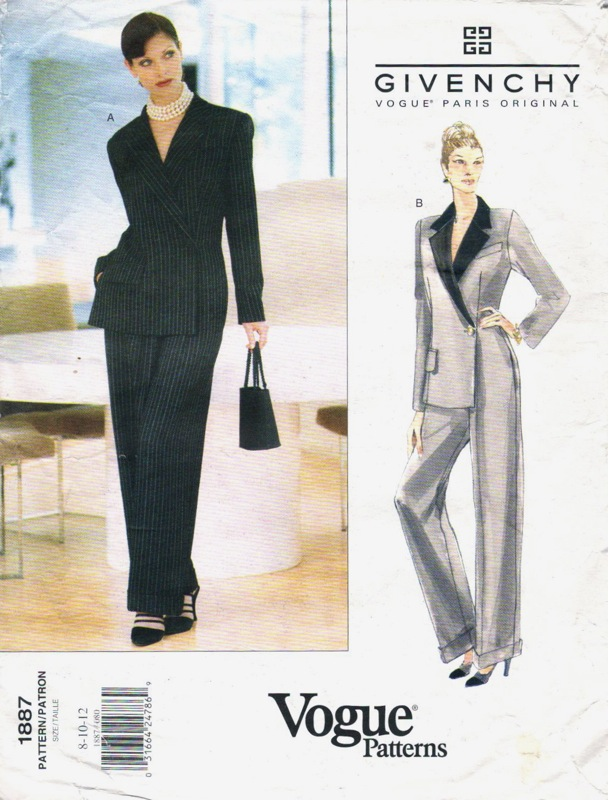 John Galliano for Givenchy tailored pinstriped jumpsuit pattern, Vogue 1887 (1996)
