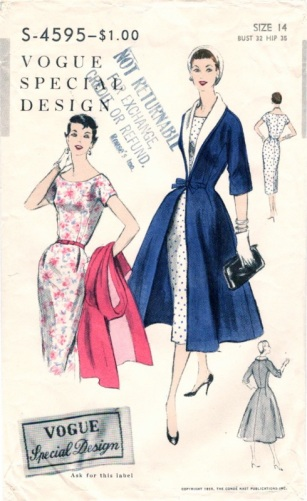 1950s dress and redingote pattern, Vogue S-4595