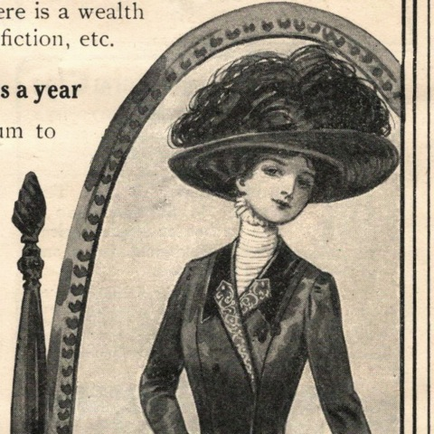 Edwardian lady reflected in a mirror - McCall 1909 ad illustration detail