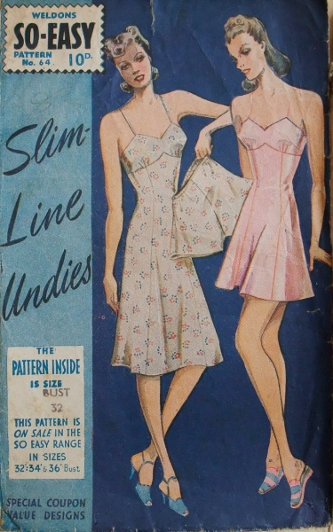1940s British lingerie pattern for slips and knickers, Weldons So-Easy 64