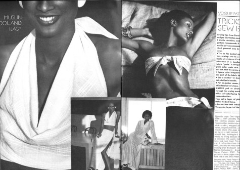 Beverly Johnson in Vogue, May 1973. Photos: Kourken Pakchanian.