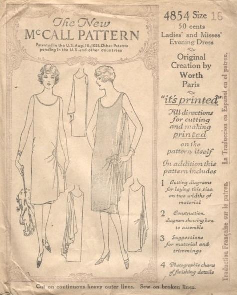 1920s Worth evening dress pattern - McCall 4854