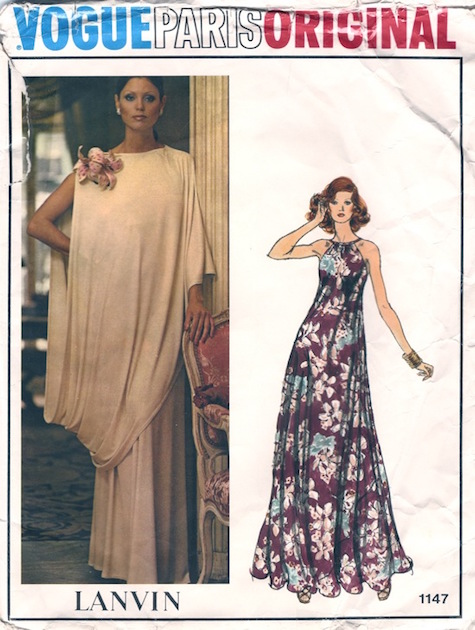 1970s Lanvin evening dress and toga pattern - Vogue 1147