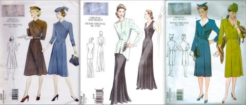 Vintage Vogue 2197 (1939), Vogue 2786 (1940), Vogue 2321 (1943)