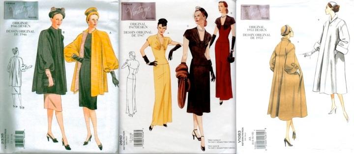 Vintage Vogue 2338 (1946), Vogue 2610 (1947), Vogue 1083 (1953)